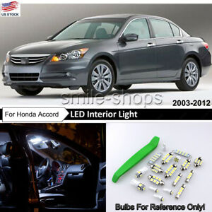 Pure White Led Interior Map Dome Lights Package For 2003 2012 Honda Accord tool