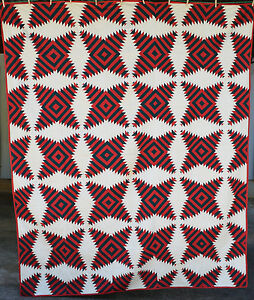 Stunning 1870 S Turkey Red Teal Windmill Blades Pineapple Log Cabin Quilt