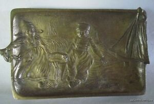 Antique Belgium Holland Scene Boy Girl Sailboats Solid Brass Tray