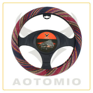 15 Inch Baja Blanket Car Steering Wheel Cover Red Ethnic Style Universal Fit