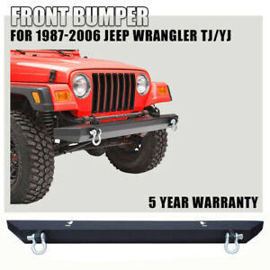 Fit For 1987 06 Jeep Wrangler Tj Yj Front Bumper W D Ring Black Rock