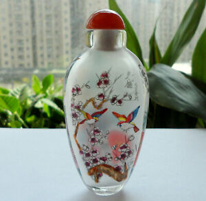 Chinese Collectible Handmade Inside Painted Flower Birds Glass Snuff Bottle Box