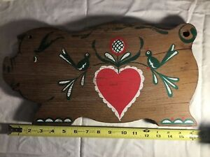 Cool Antique Vintage Unique Painted Pig Wooden Cutting Board Pennsylvania Dutch