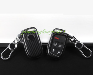 Abs Carbon Fiber Remote Key Case Fob Shell Cover For Jeep Grand Cherokee 2014 19