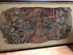 Antique Woven Tapestry Fragment 17th 18th C Belgian Framed Floated 66 X 38
