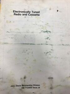 John Deere Operators Manual Electronically Tuned Radio Cassette omty20860