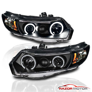 ccfl Halo for 2006 2007 2008 2009 2010 2011 Honda Civic Coupe Black Headlights