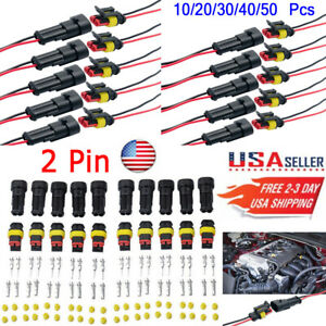 10 50set 2 Pin Waterproof Wire Connector Plug Car Electrical Denso Connectors