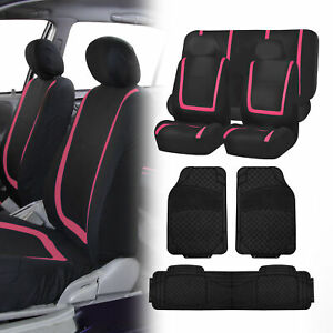 Black Pink Seat Covers Set For Car Suv Auto With Black Floor Mats