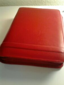 Franklin Covey Red Leather Zip Classic Binder Planner 7 Ring