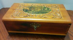 Vintage Wood Carved Sewing Jewelry Trinket Dovetailed Box W Mirror