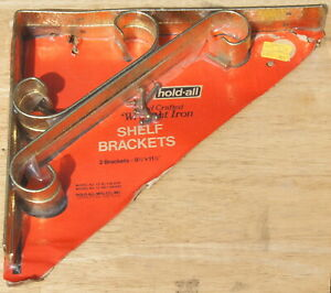 Nos Pair Of Gold Wrought Iron Shelf Brackets 9 5 X 11 5 Made In Usa Holdall