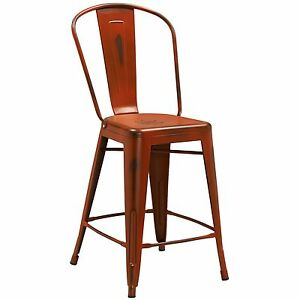 Tolix Style Metal Distressed Orange Industrial Restaurant 24 Counter Stool