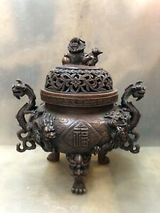 Chinese Bronze Dragon Incense Burner