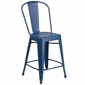 Tolix Style Distressed Navy Blue Industrial Restaurant 24 Counter Stool