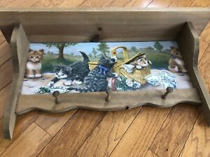 Vintage Country Style Kittens Coat Hat Hanger Shelf 3 Pegs Solid Wood 28 Wide