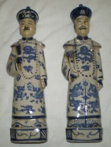 2 Vtg Old Chinese 14 5 Tall Emperor Father Son Blue Figurine Stutue W Dragons