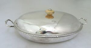 John Robinson Covered Dish Ostrich Crest London 1766 Sterling Silver