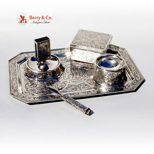 W Kerr 5 Piece Acid Etched Scroll Desk Smoking Set Sterling Stainless Steel 1890