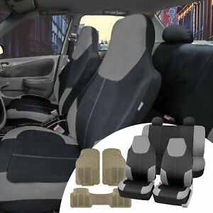 Neoprene Gray Seat Covers Universal W Beige All Weather Floor Mats For Car