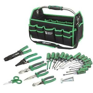 Electricians Tool Set 22 Piece W Multiple Pocket Bag Electrical Hand Tools Green