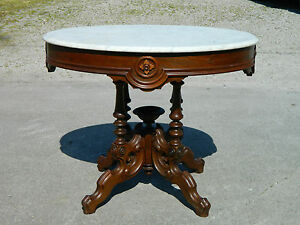 Walnut Victorian Marble Top Center Lamp Table C 1870