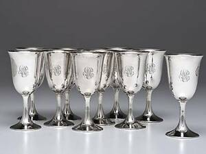 10pc Sterling Silver Water Wine Goblets Cups Bogaert By Frank Smith 6 75 H