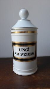 Antique Porcelaine French Apothecary Jar Ung Ad Pedes Pot Pharmacie Pharmacy