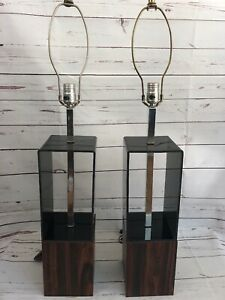 Vintage Pair Of Mid Century Modern Lamps With Smoke Grey Wood Chrome