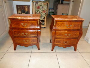 Vintage Rare Pair Of Louis Xv Style End Tables With Marble Tops 25 By 21 By 13