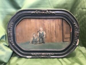 Antique Convex Bubble Glass Oval Large Gray Paint Frame Tinted Baby Boys Cl1