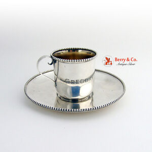 Cup And Saucer Set Sterling Silver Gold Washed Whiting 1920