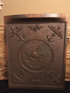 Antique Cast Iron Fireplace Cover With Cherub Motif