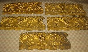 Victorian Embossed Original Tin Ceiling Panel Molding Gold Gilt Flowers Grapes