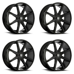 4x Dub 24 Push S110 Wheels Gloss Black 24x10 6x135 Pcd 30mm Offset