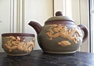 Chinese Teapot W Cup Yixing Zisha Purple Green Clay Carved Dragon