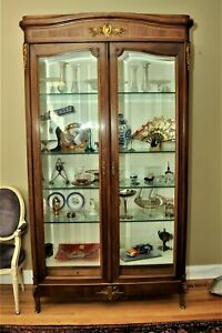 French Louis Xvi Style Wood Display Cabinet Bronze Accents Glass Shelves Tall