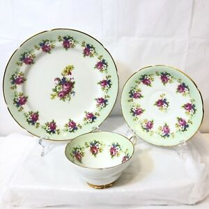 Vtg Stanley Bone China England Tea Cup Saucer Underplate Pink Roses Green Band