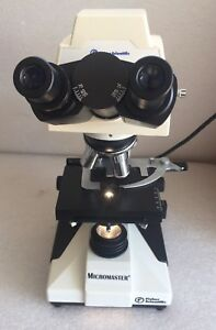 Fisher Micromaster Microscope 12563322 W 4 Objectives 2 Eyepieces