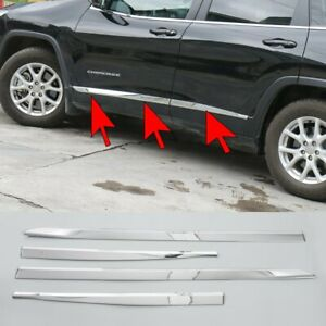 Chrome Abs Door Body Strips For Jeep Cherokee 2014 2016 Molding Accessories 4pcs