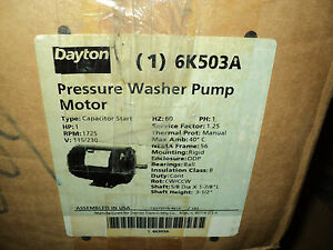 Dayton 6k503 Motor 1 Hp Pressure Washer Pump 1725 Nameplate Rpm 115 230 V