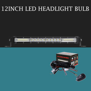 Slim 12 Inch Front Grille Led Light Bar Spot Flood Beam With Wiring Harness Kit