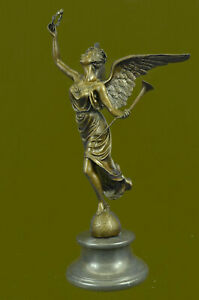 Handcrafted Christmas Angel Bronze Sculpture Hot Cast Marble Base Figurine Deal