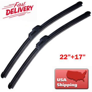 22 17 Inch Windshield Wiper Blades J Hook High Quality Bracketless Frameless