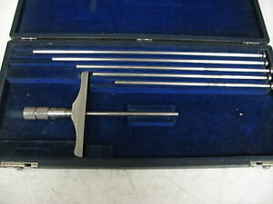 Brown Sharpe Depth Micrometer Set Range 3 8 X 001 item X8