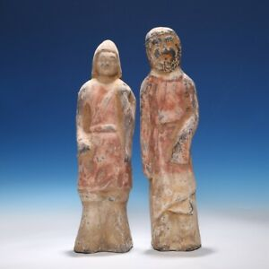 2pcs Chinese North Wei Dynasty Pottery Figure Old Statue Warrior Sculpture Hb17