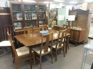 Mid Century Modern Set Of Dining Table And Six Chairs Hutch Buffet Mcm