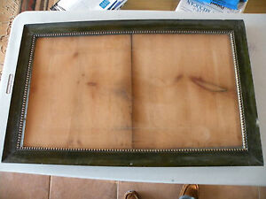 Antique C1890 Large Wide Arts Crafts Nouveau Victorian Solid Green Wood Frame