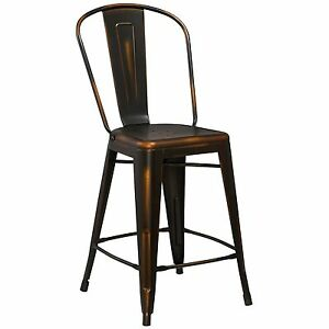Tolix Replica Metal Distressed Copper Industrial Restaurant 24 Counter Stool