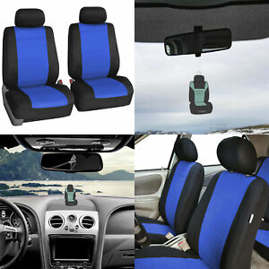 Seat Covers Neoprene Front Bucket Pair Set For Auto Car Blue W Free Freshener